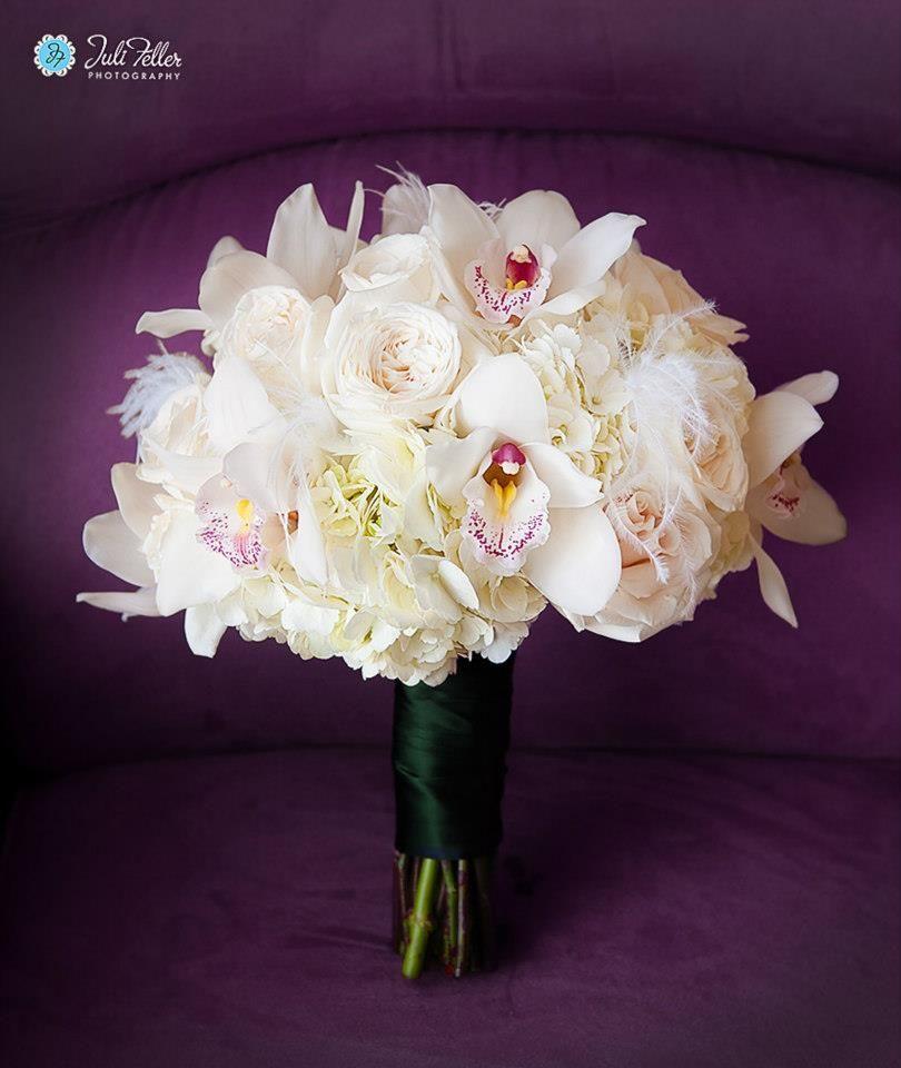 White Hydrangeas, White garden roses and cymbidium orchids