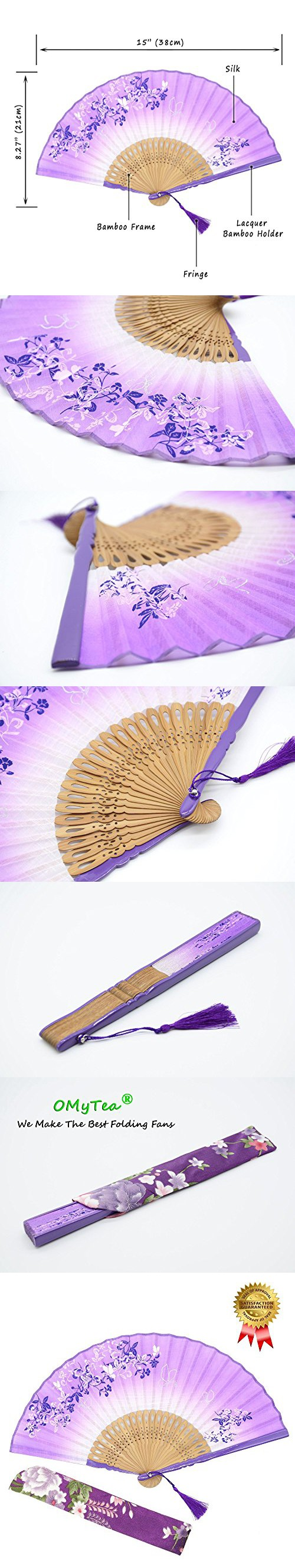 "OMyTea® 8.27""(21cm) Women Hand Held Silk Folding Fans with Bamboo Frame - With a Fabric Sleeve for Protection for Gifts - Chinese / Japanese Style Butterflies & Morning Glory Flowers Pattern (Purple)"
