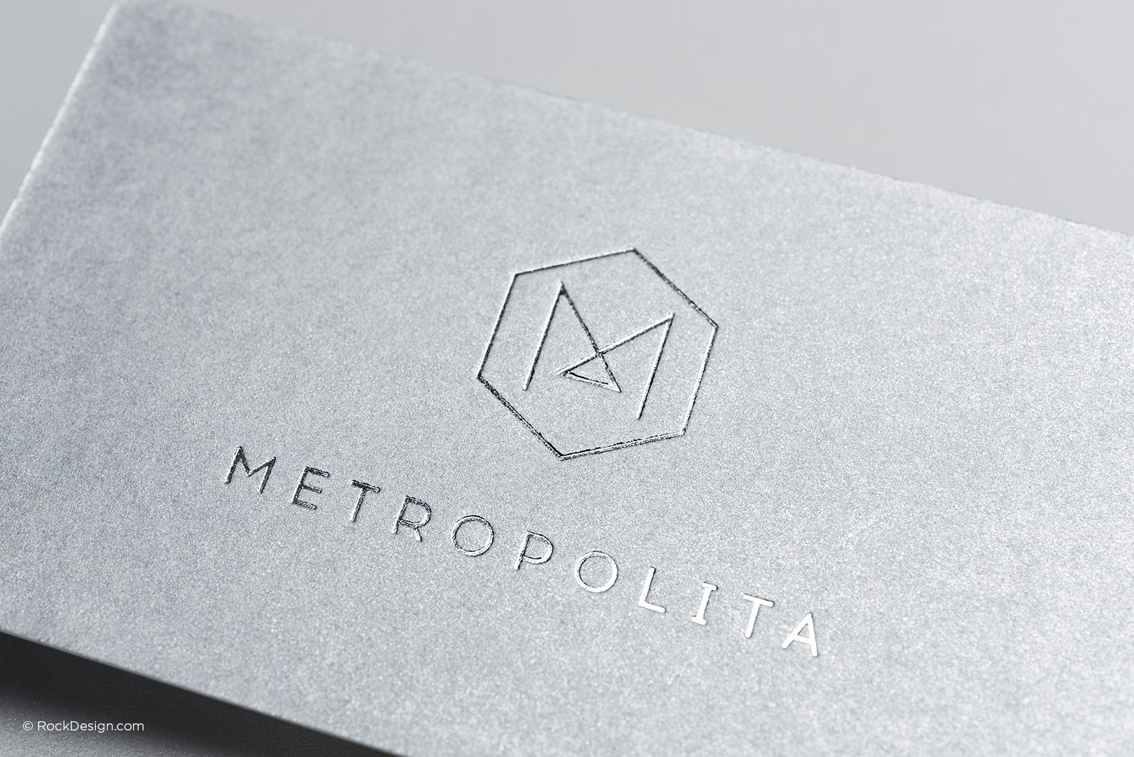 Modern professional monogram metallic silver business card ...