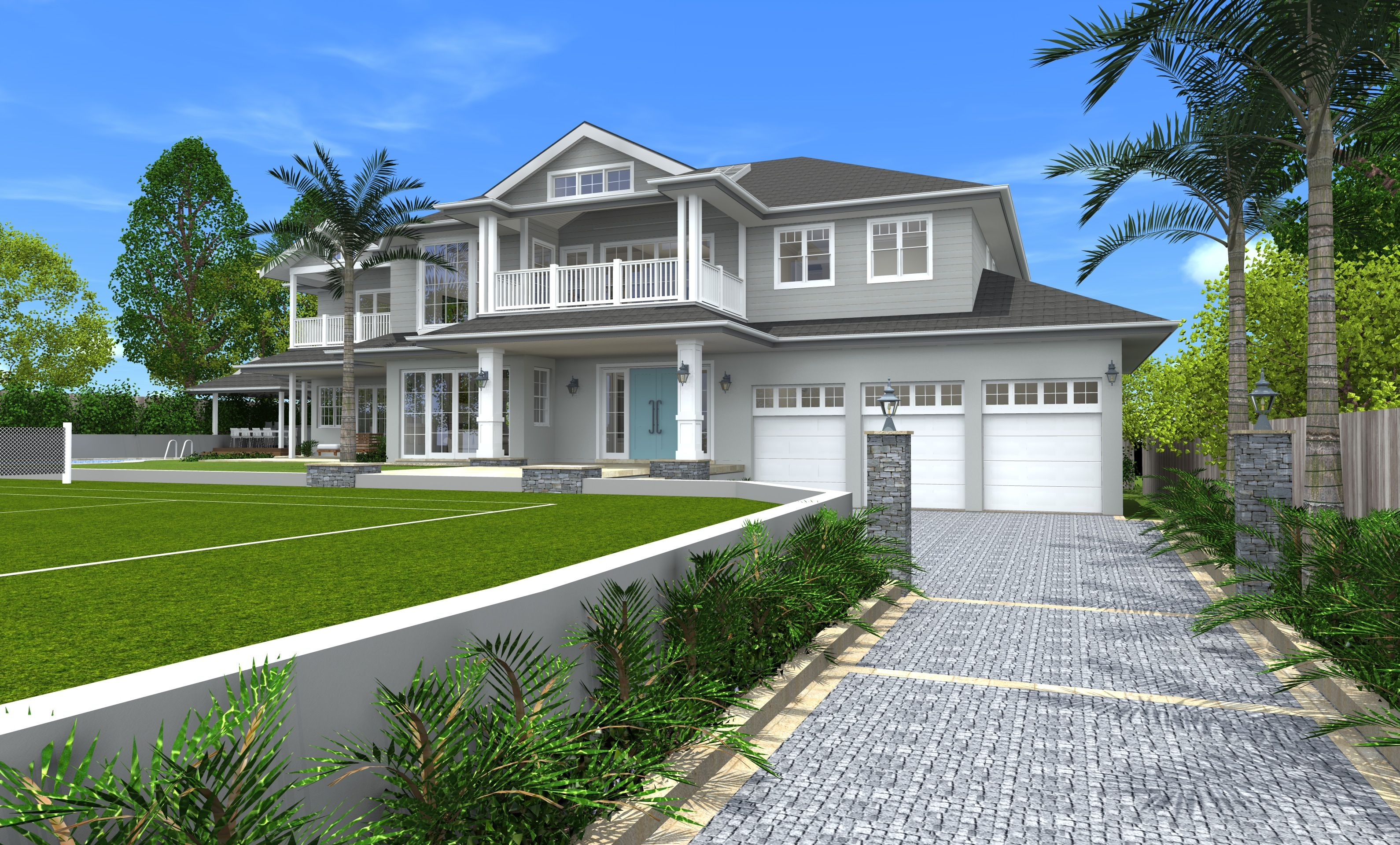 Architect design 3d concept hamptons style st ives for Australian style house plans