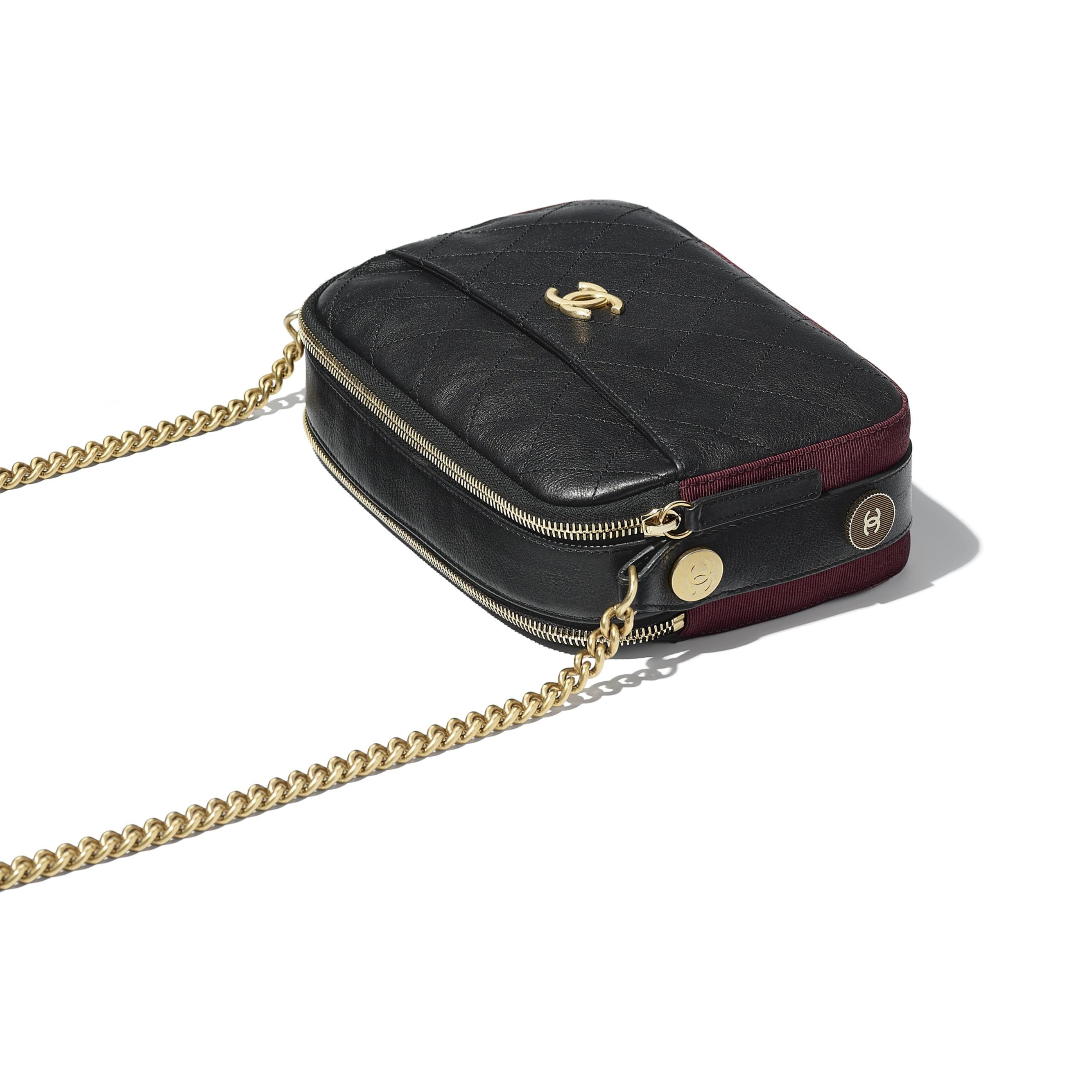 1268dc821f96 Calfskin, Grosgrain & Gold Tone Metal Black & Burgundy Camera Case   CHANEL