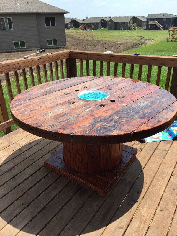 DIY Rustic Wooden Spool Fire Pit Table Gas fire pit