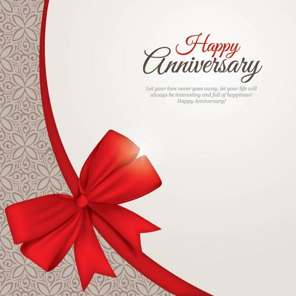 Happy Anniversary Greeting Card Template Vector  Free Vectors