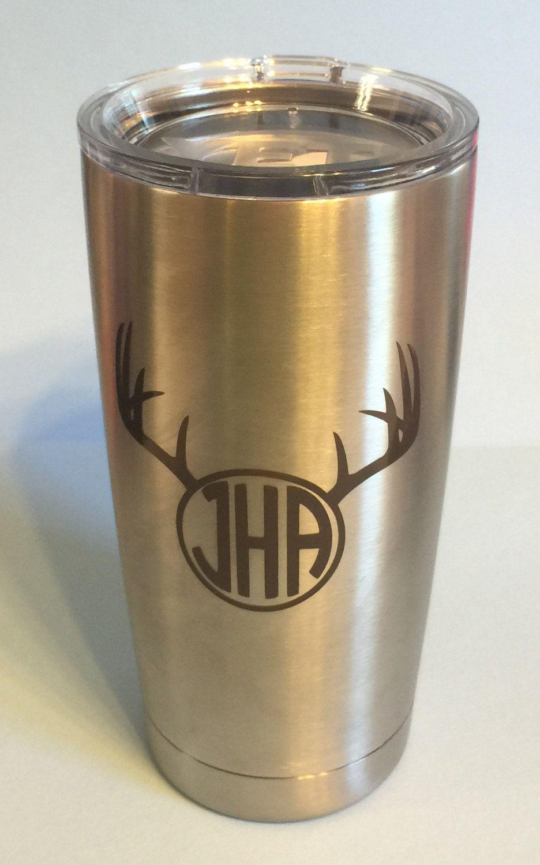 Deer Horns With Monogram Or Initials Personalized Yeti Tumbler - Yeti tumbler stickers