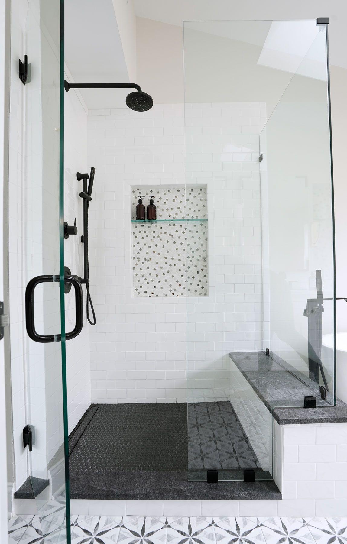 Master Bathroom Remodel Black Matte Fixtures Grey Black And White Patterned Tile White Subway Sho Shower Remodel Bathroom Remodel Master Master Shower Tile