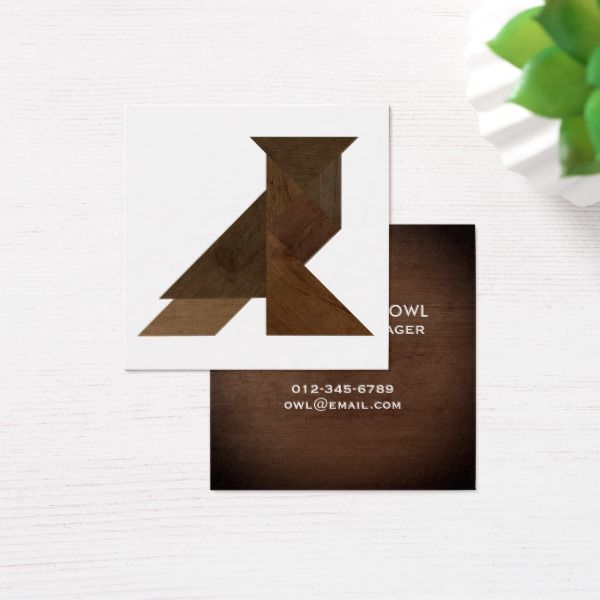 Tangram Owl Wood Style Business Card Template Custom office - office supply template