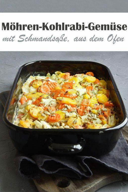 Kohlrabi-Möhren-Ofengemüse. Mit Schmand.