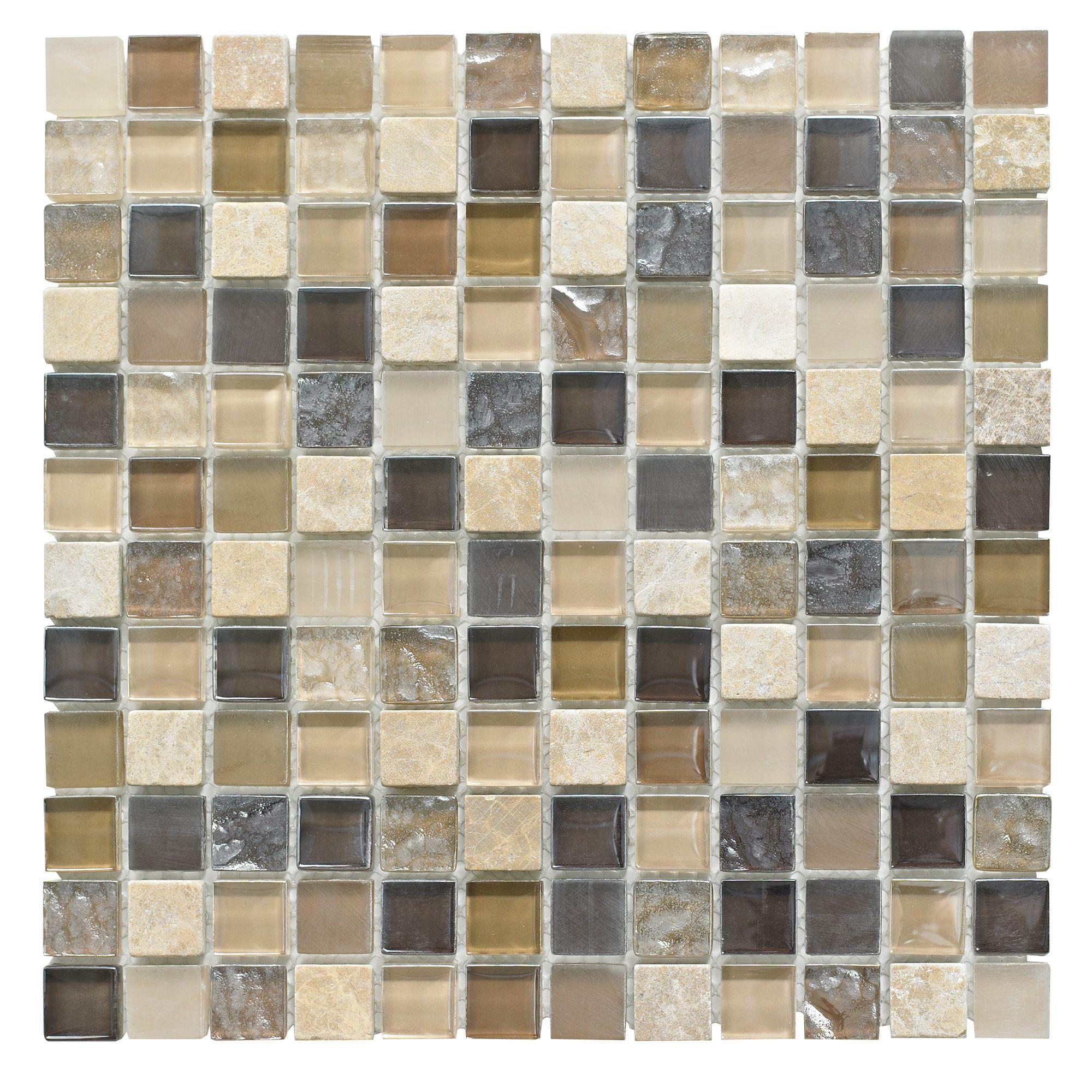 beige mosaic glass stone wall tile l 300mm w 300mm
