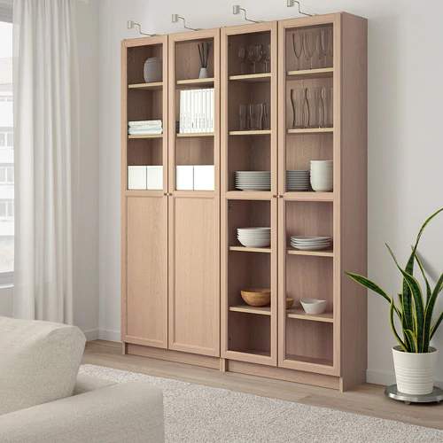 Billy Oxberg White Glass Bookcase With Panel Glass Doors 160x30x202 Cm Ikea Bookcase Ikea Glass Door