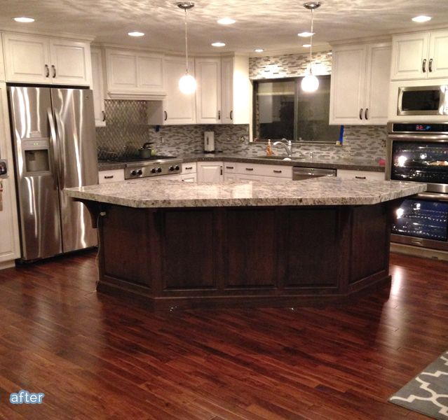 Before And After Of This Beautiful Open Concept Kitchen: Flooring, Backsplash, Counter Tops