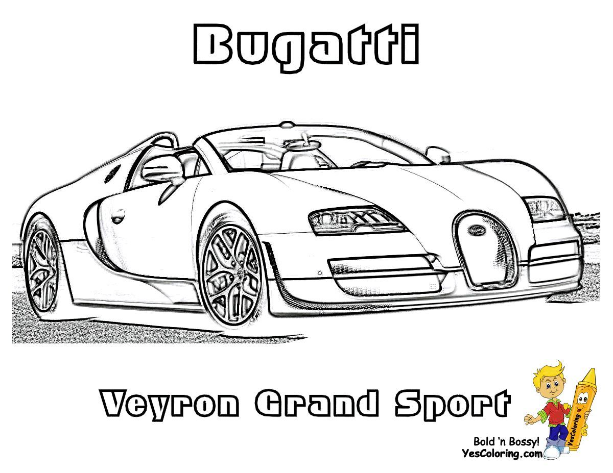 Print Out This Bugatti Veyron Super Car Coloring Page Hot Dog