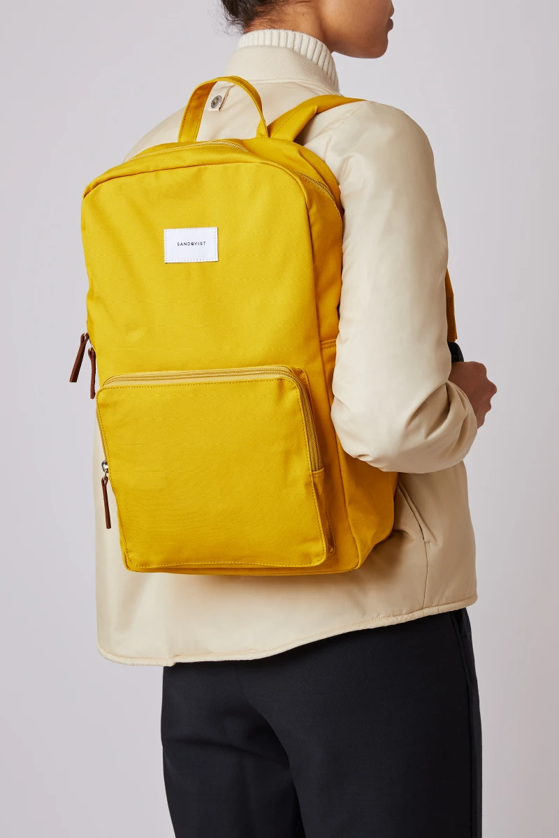 Kim Canvas Backpack Yellow In 2020 Backpacks Bags Canvas Backpack