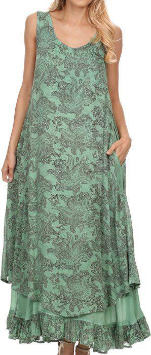 Sakkas 16222 - Paak Tall Long Batik Paisely Print Ruffle Hem Lined Caftan Tank Top Dress - Green - S/M