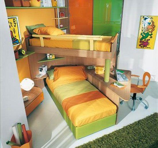 Decoraci n de cuartos compartidos por un ni o y una ni a for Muebles habitacion infantil nina