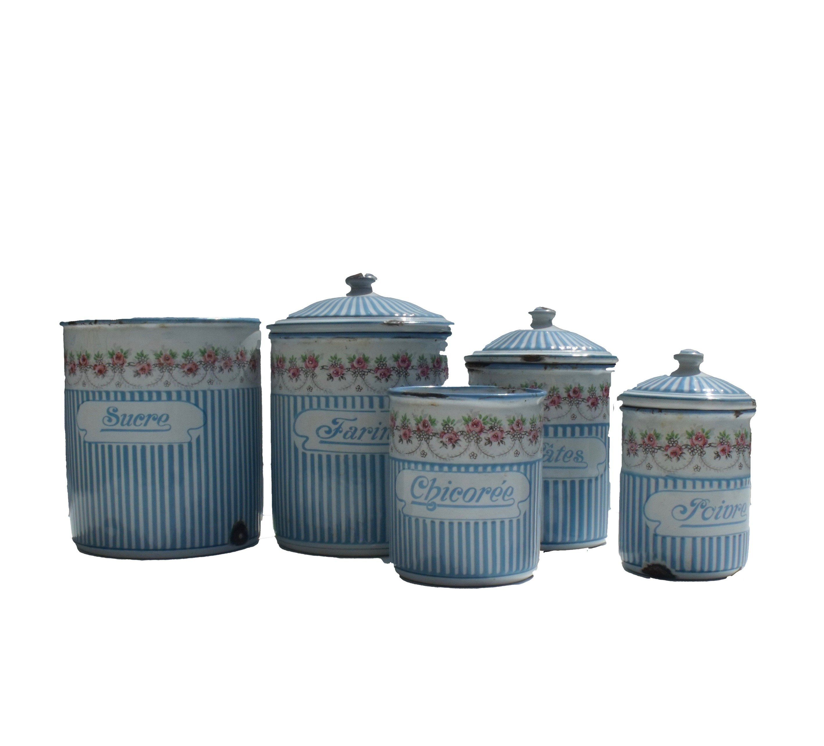 5 French Antique Flower Enamel Kitchen Canisters Containers
