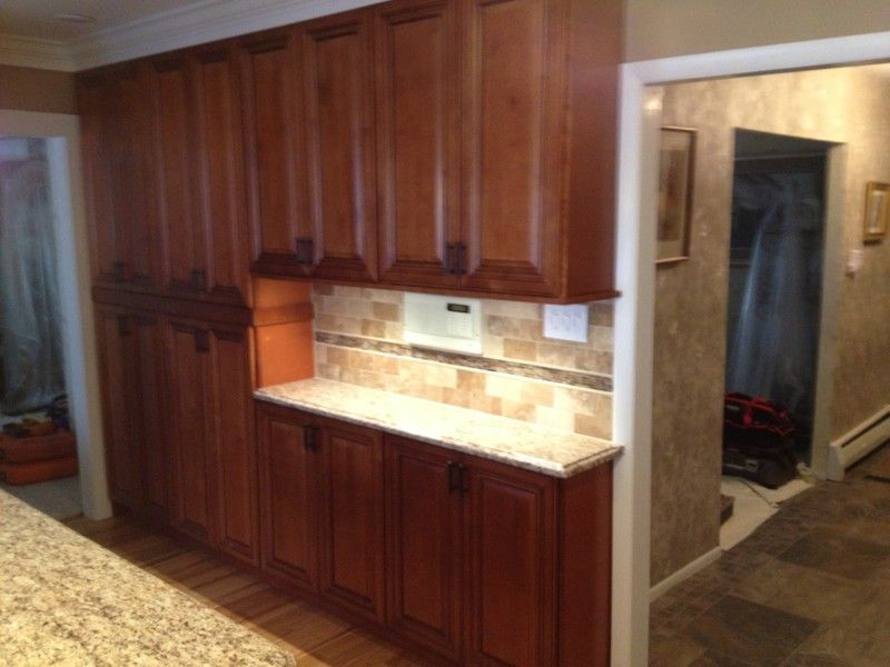 wall of horizon maple wall cabinets and pantries rtakitchencabinets - Kitchen Wall Cabinets