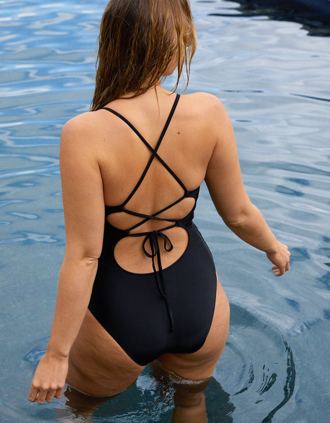 Aerie Strappy Back One Piece Swimsuit True Black In 2019 Fashion