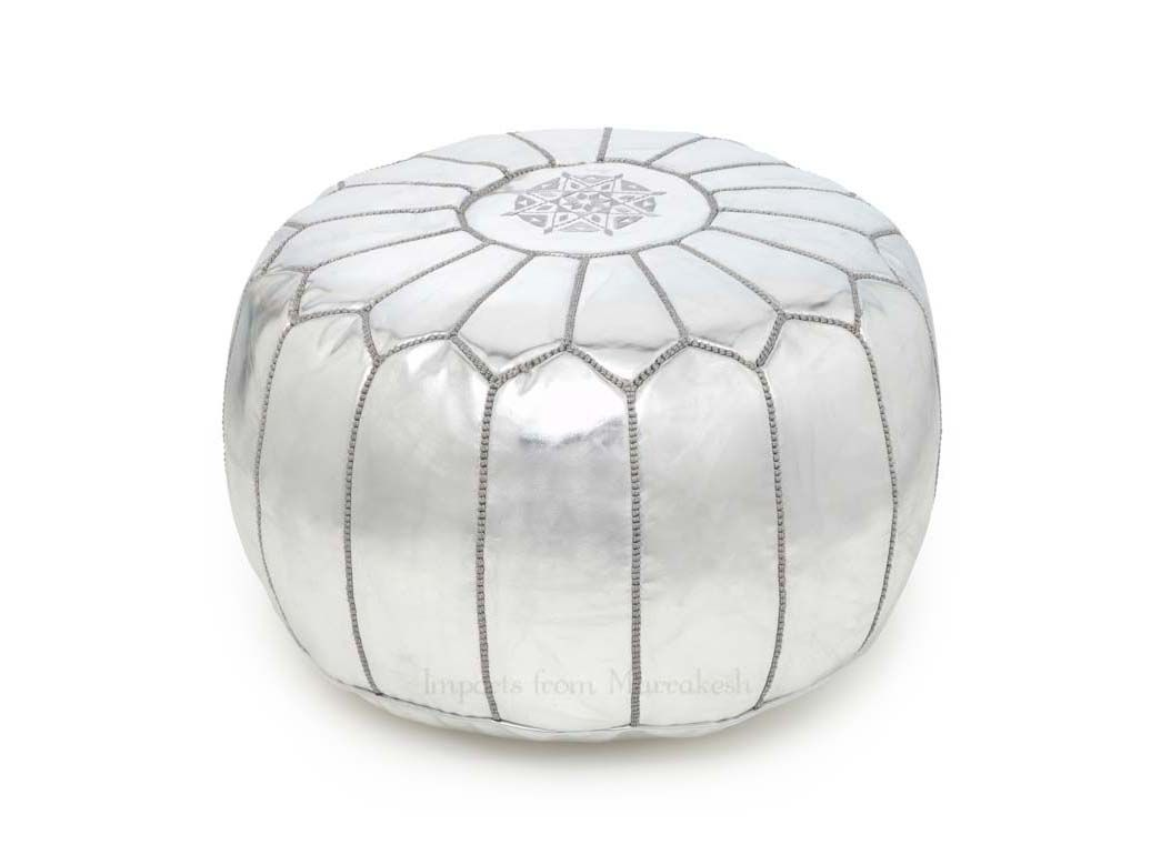 White Pouf Ottoman Silver Moroccan Pouf Ottoman  Could Absolutely Find Something