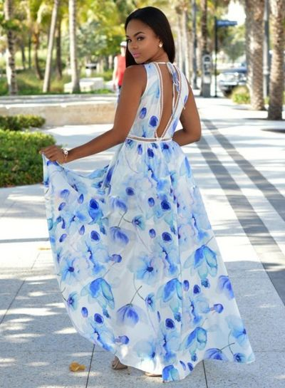 Floral Printed Deep V Neck Sleeveless High Slit Maxi Dress - OASAP ... bf33263d9