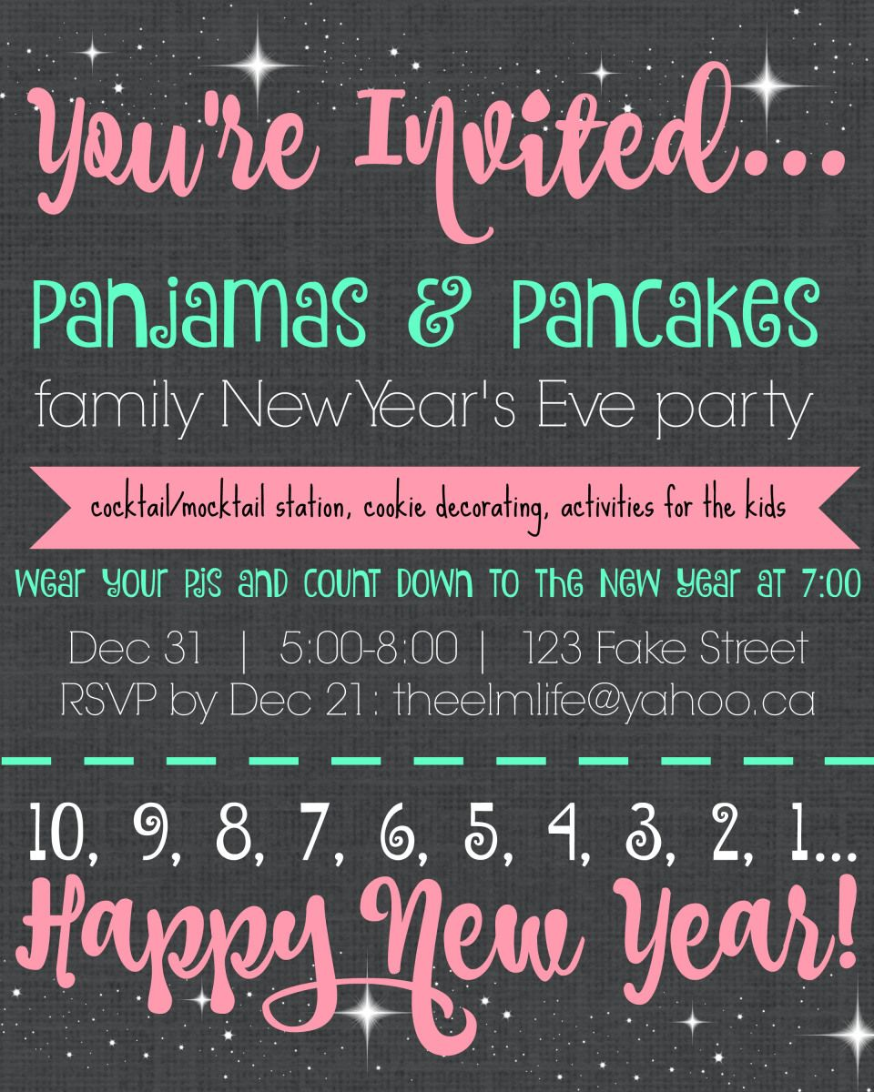 Pajamas & Pancakes family New Year\'s Eve party invitation template ...