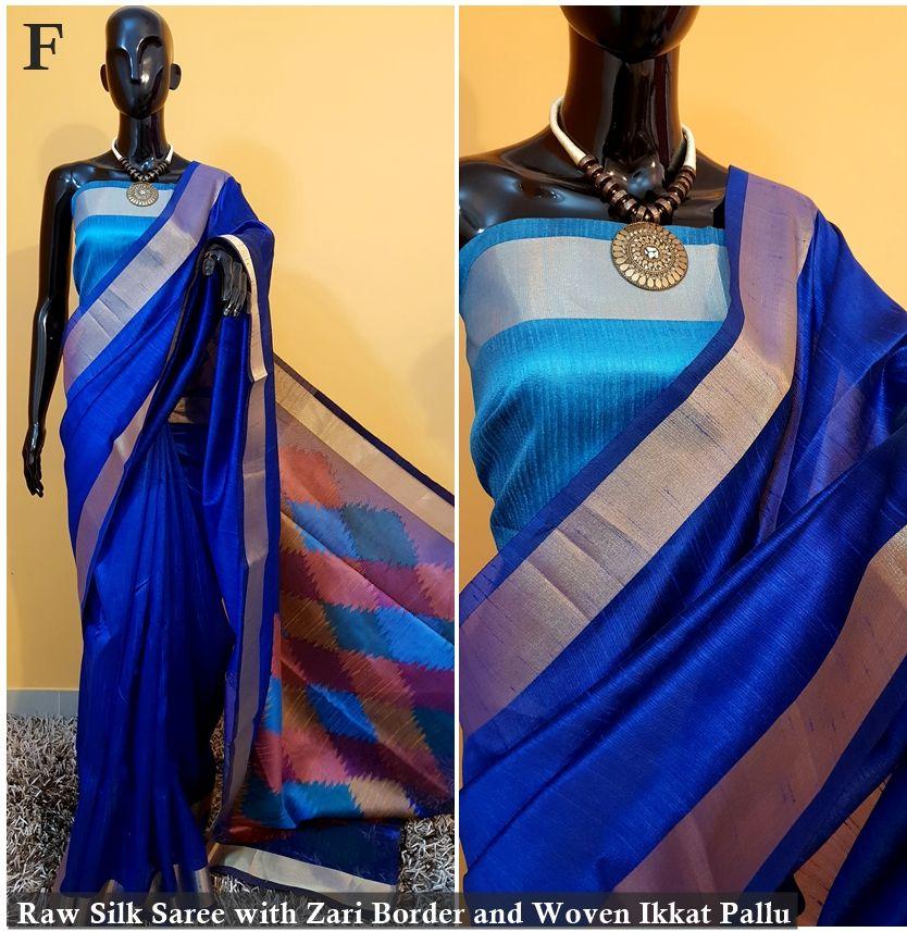 fb4256096902c Raw Banglori silk weaving saree with Ikkat Pallu zari woven Border (3 Pc  Set)