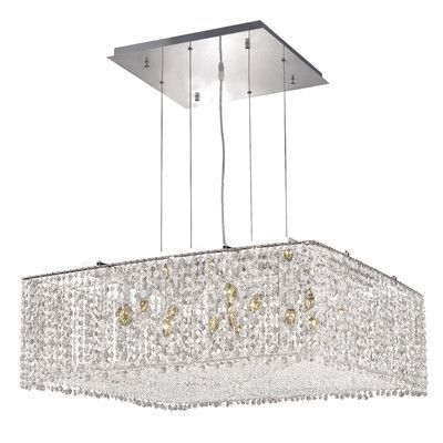 Elegant Lighting Moda 13 Light Crystal Pendant Crystal Color / Crystal Trim: Crystal (Clear) / Royal Cut