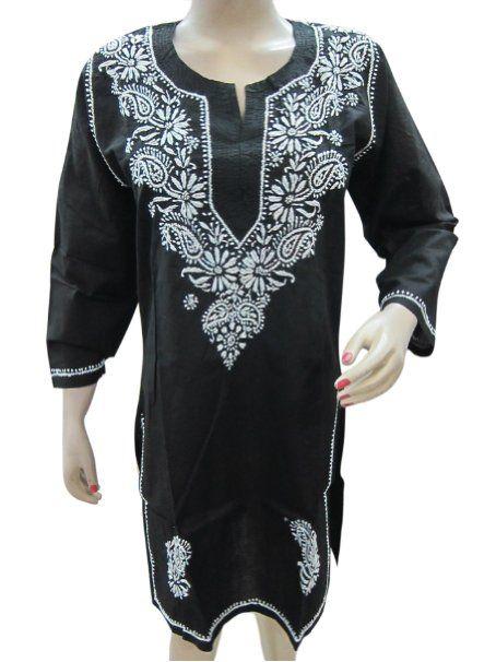 f0415978078 Amazon.com: Womens Tunic Kurta Black White Chikan Embroidered Cotton Kurti  Dress: Clothing