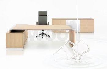 Bureau S1 avec desserte droite 3T chêne clair - Wooh Store : Bureau et mobilier de bureau
