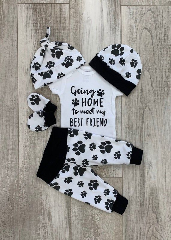 Photo of Going Home Boys Dog Coming Home Outfit, Going Home to Meet my Best Friend Baby Set, Dogs Paws, Newborn Hospital,  Baby Boy Shower Gift