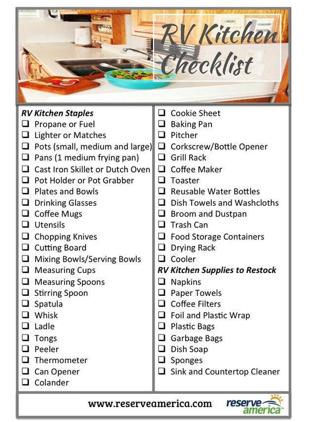 RV Kitchen Checklist | Travel: By RV | Rv camping checklist, Travel trailer organization, Rv camping