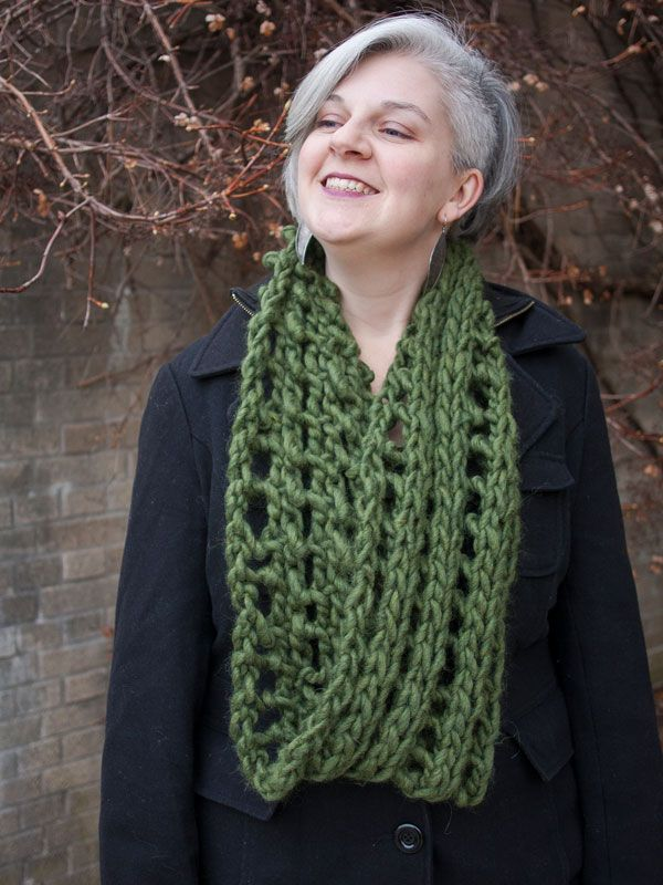 This Long Knitted Cowl Pattern Uses A Double Eyelet Stitch Pattern