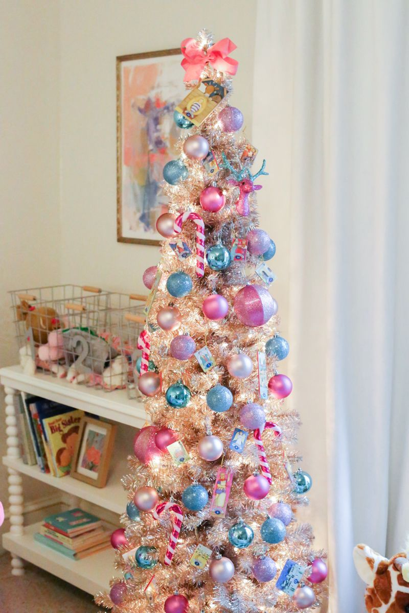 kids christmas tree, pink christmas tree, rose gold