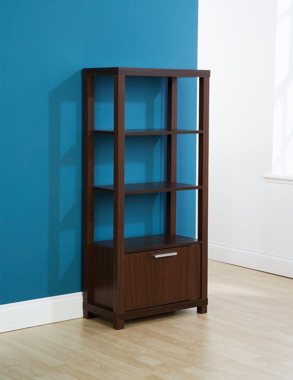 72.99   Tall Display Unit Walnut Media Storage 3 Book Shelves ...