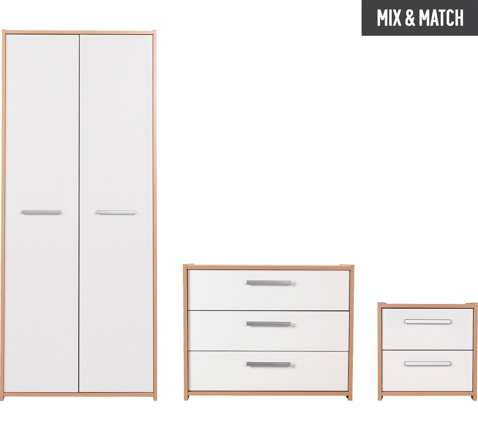Buy home new sywell pc wardrobe package oak u white gloss at