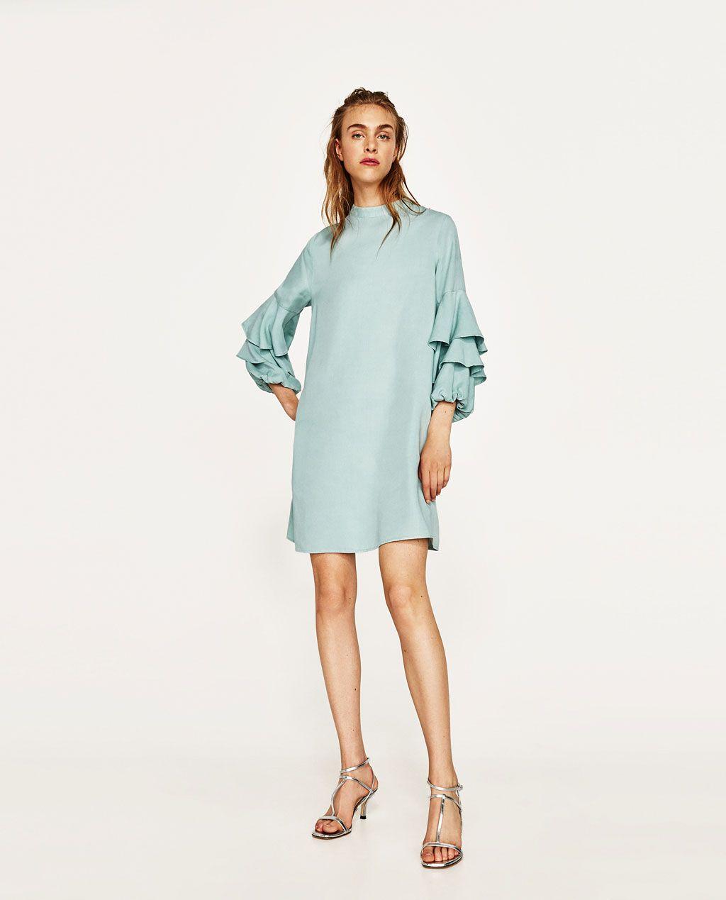 image 1 of frilled sleeve dress from zara | ruffles fashion