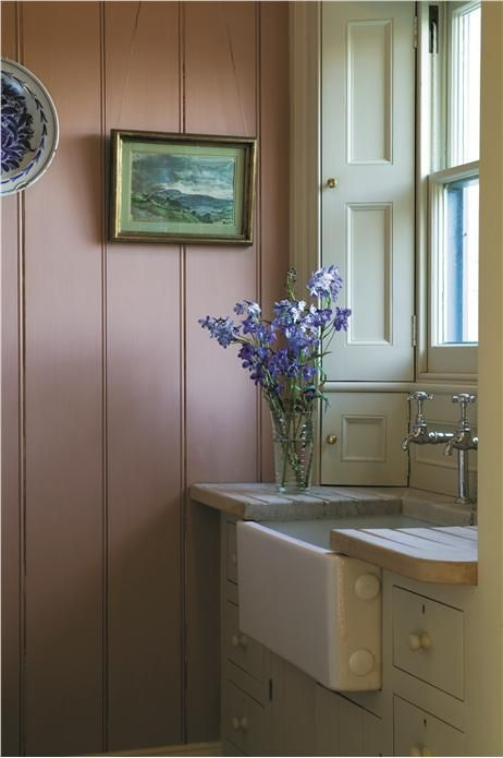 Kitchen with panelling in red earth estate eggshell and - Eggshell paint in bathroom ...