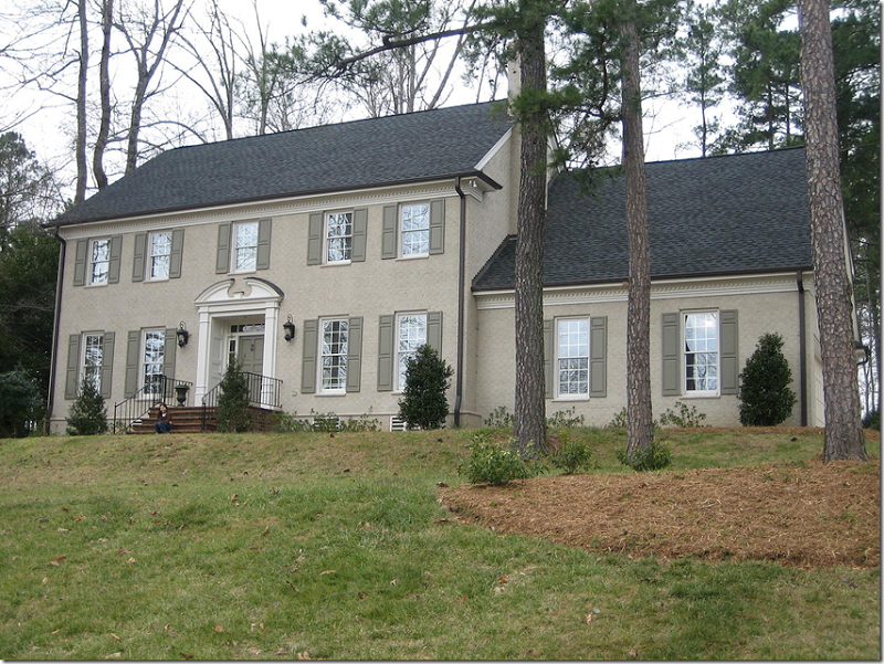 Marvelous Painted Taupe Brick House With Moss Green Shutters