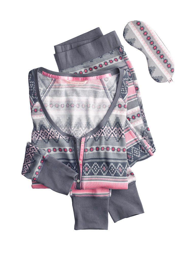 The Fireside Long Jane Pajama - Victoria's Secret color grey coral ...