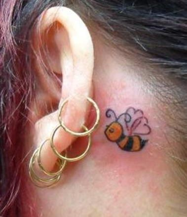 Small Tattoo Behind Ear Small Tattoos Bee Tattoo Anklet Tattoos