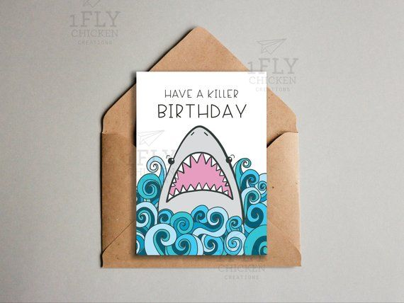 56073c5500 Fun Shark Birthday Card - Printable Shark Card for Kids - Shark Week -  Instant Download - Cute Kids
