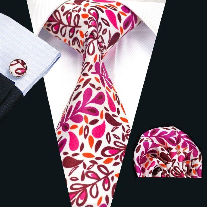 Hot Classic Floral Pink White JACQUARD WOVEN 100/% Silk Men/'s Tie Necktie