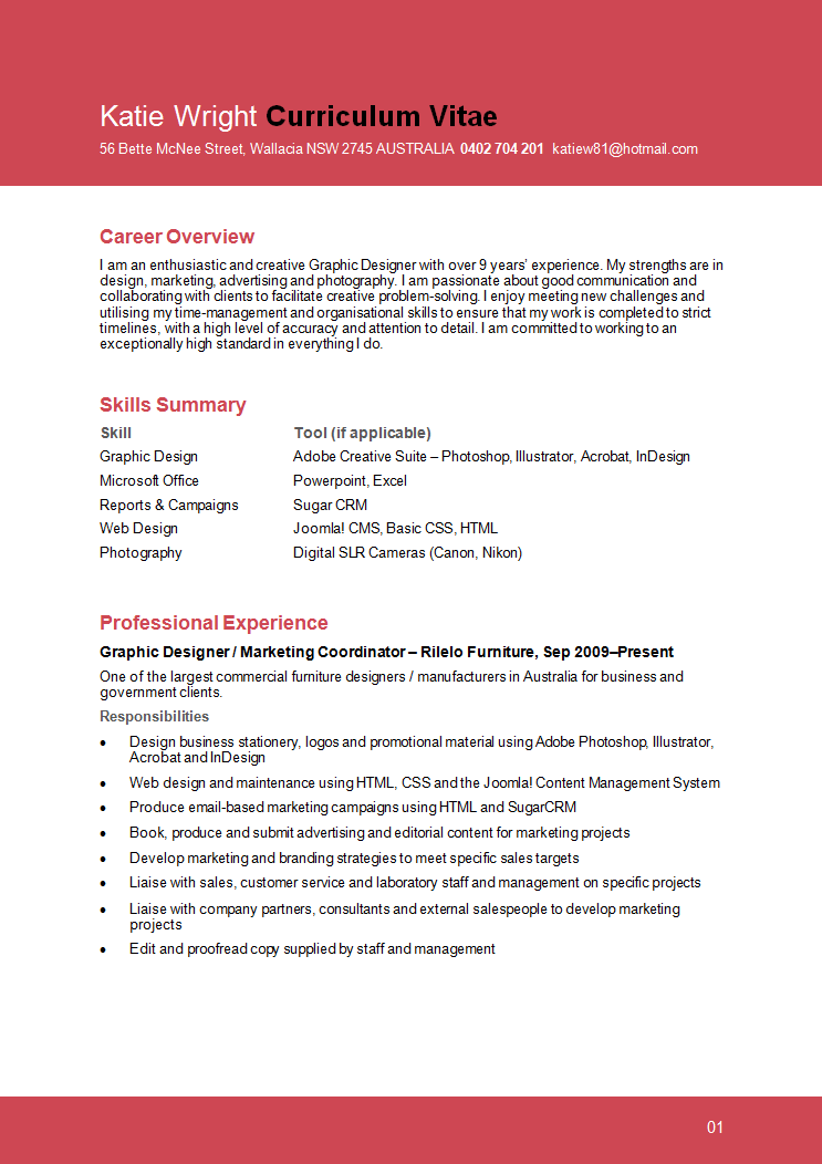 sample graphic design resume page 1