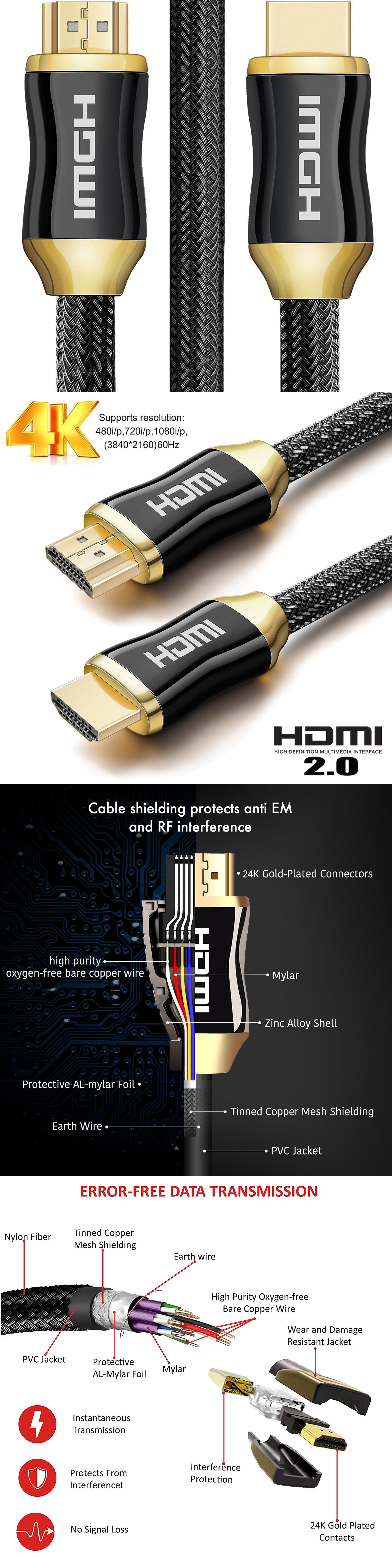 Video Cables and Interconnects: Braided Ultra Hd Hdmi Cable V2.0 ...