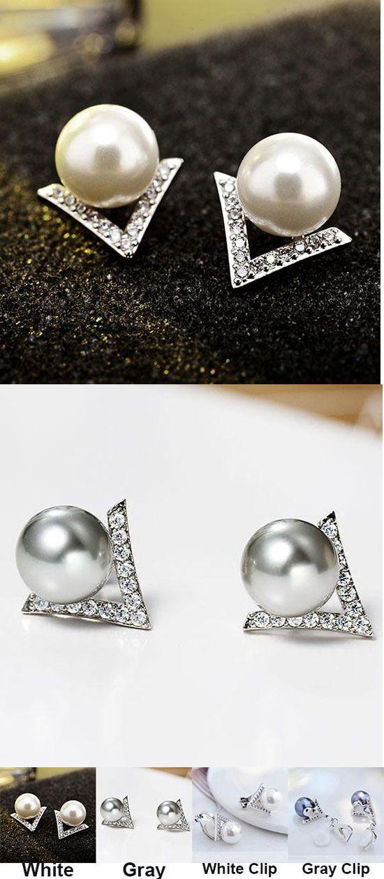 Cute Pearl Inlay V Shape Diamond Triangle Silver Women Earring Studs for big sale ! #silver #women #earring #studs #cute #pearl #V
