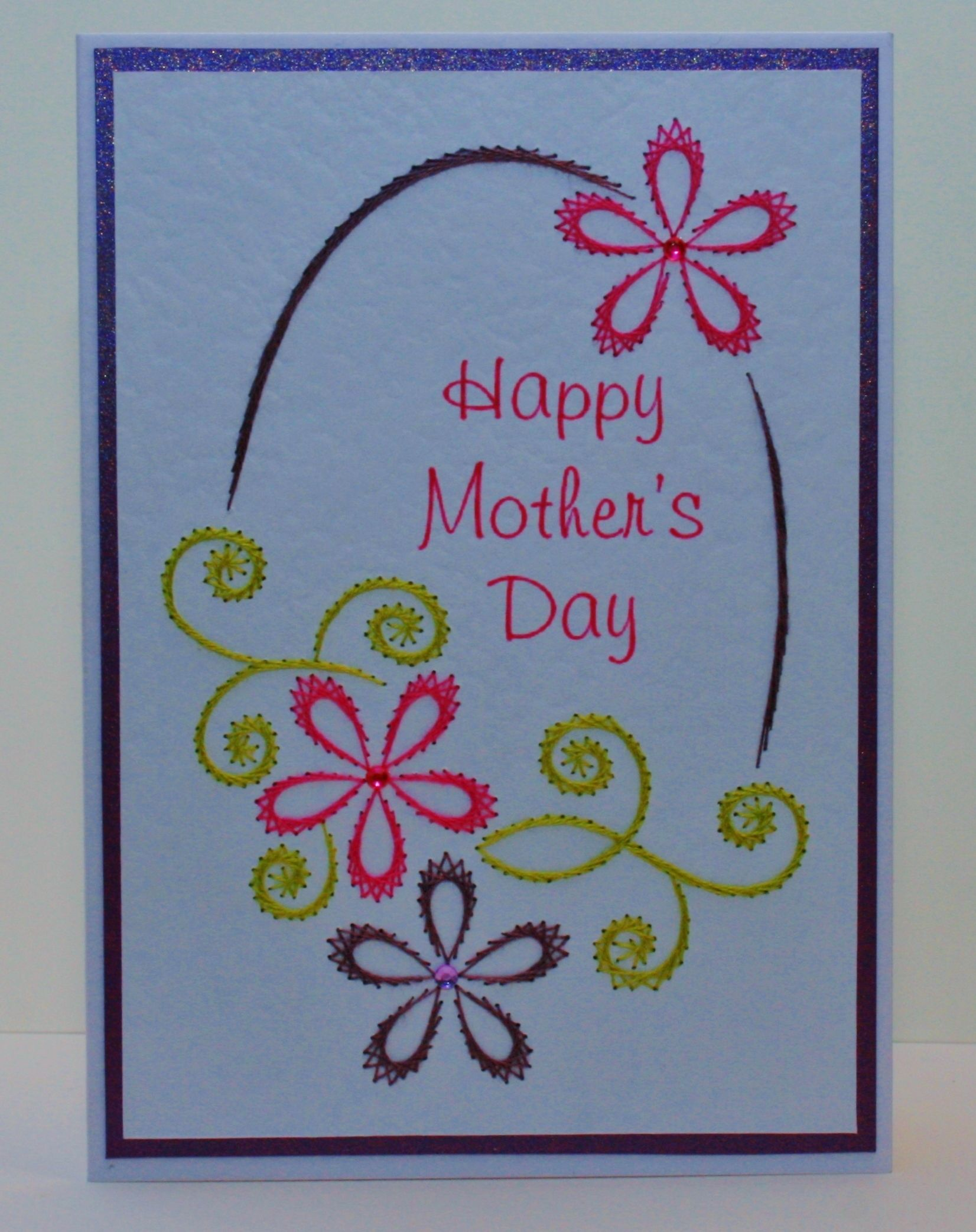 Hand stitched mothers day card stitched cards pinterest hand