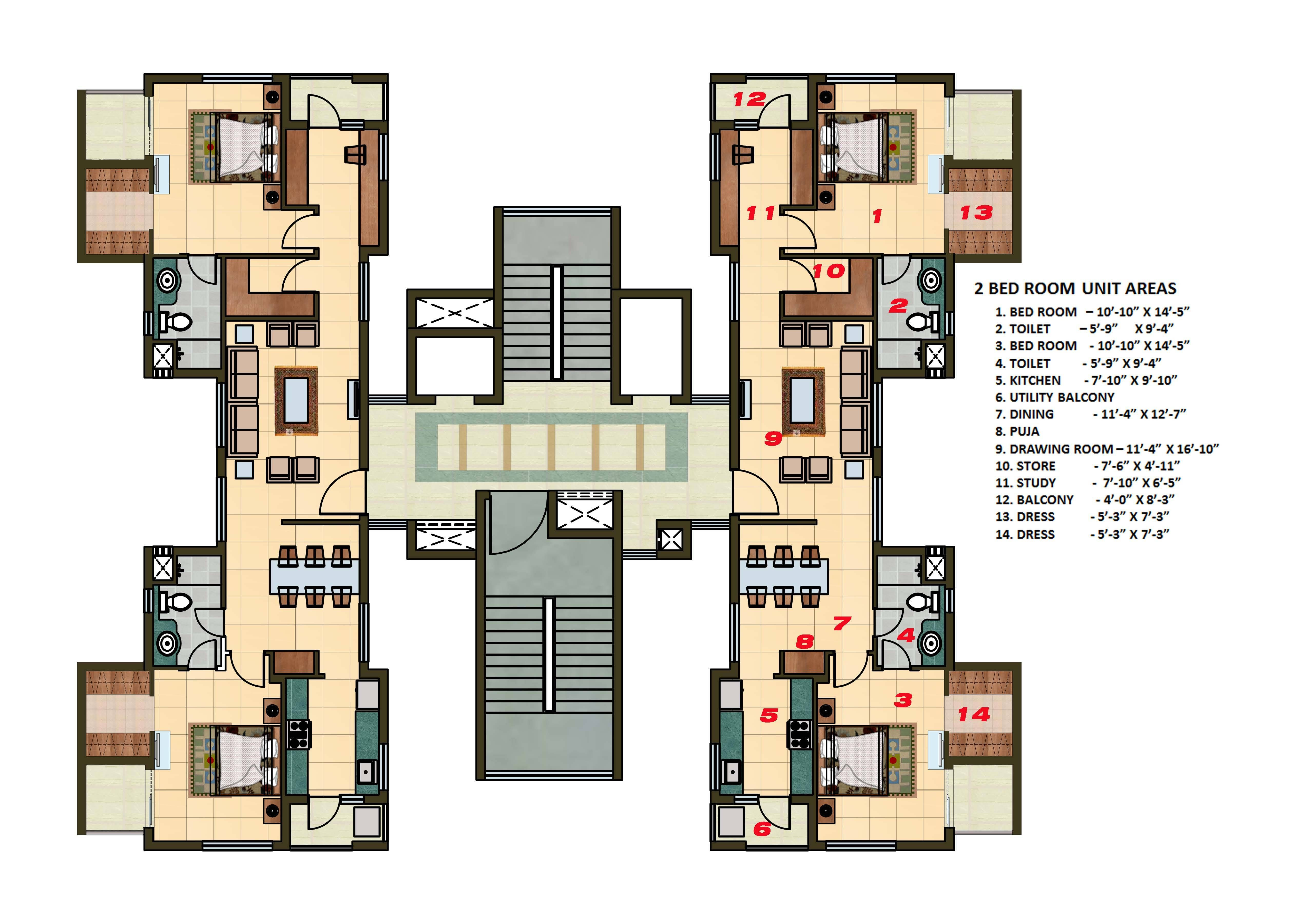 2 BHK Apartment Cluster Tower Layout in 2022 Building
