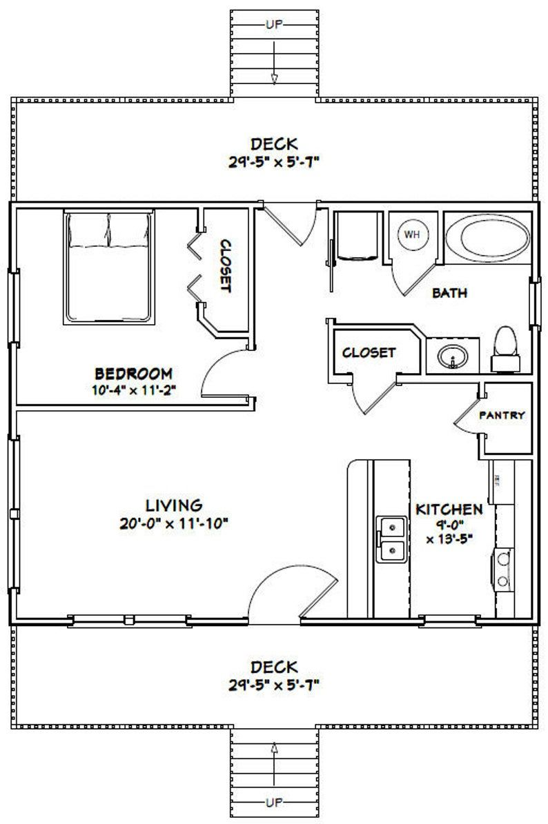 30x24 House -- 1-Bedroom 1-Bath -- 720 sq ft -- PDF Floor ...