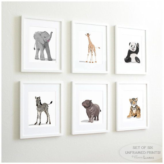 Baby Animal Nursery Art Prints modern minimalist by PaperLlamas
