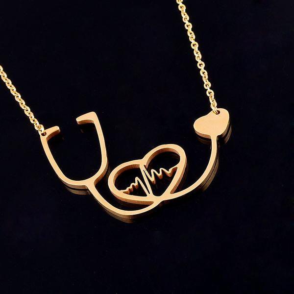 Gold Nursing Doctor Nurse Medical Stetoscope Pendant Stainless Necklace