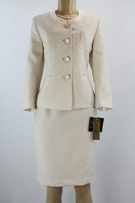 Kasper Women Suit Set Brazilian Sky Skirt Jacket Set Cream Almond